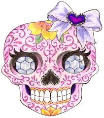 sugar skull with diamonds and bow 3 by metacharis on