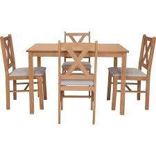 Buy HOME Ava Solid Oak Dining Table   Chairs Cream At Argosco - Argos kitchen tables