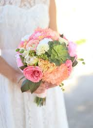 Shabby Chic Wedding Bouquets by Silk Bride Bouquet Pink Coral Peach Roses Peonies Wildflowers