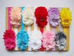 shabby flowers baby flower headbands solid shabby flower mini pearl chiffon