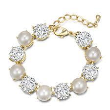 rose gold pearl bracelet images Pearl and austrian cryatal rose gold bracelet vironna jpg