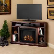Tv Stand Bookcase Combo Furniture Home Dark Brown Polished Wooden Corner Electric