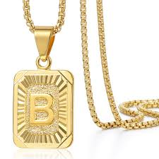 gold necklace with initial images Mens women chain pendant necklace gold filled square initial jpg