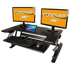 conquer height adjustable standing desk monitor riser 36