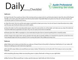 Clean Bedroom Checklist Austin Daily Cleaning Checklist Austin Professional Cleaning