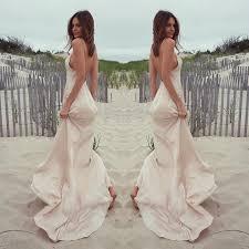 simple open back wedding dresses simple v neck sheath sweep wedding dress with open back