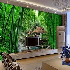 online get cheap bamboo wallpaper natural aliexpress com 3d green natural bamboo river house wall mural photo wallpaper roll wall paper home decor wallcoverings
