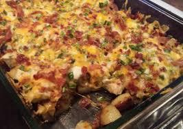 chicken bacon ranch potato bake recipe baked potato casserole