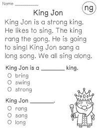 kindergarten reading passage ending blends reading fluency and comprehension passages reading