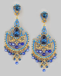 clip on chandelier earrings jose barrera draped chandelier clip earrings blue