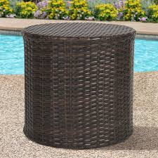 Side Patio Table Best Choice Products Outdoor Wicker Rattan Barrel Side Table Patio