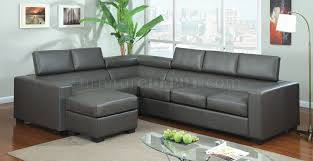 Grey Leather Sectional Sofa Cm6365gy Serres Sectional Sofa In Gray Bonded Leather Match