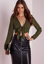 tie front blouse tie front cropped blouse khaki missguided