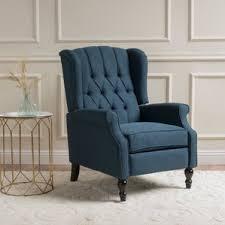 blue fabric recliners wayfair