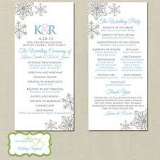 winter wedding programs winter snowflake wedding program snowflakes flyers and