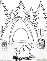 coloring page camp coloring pages bunch of kids and a dog on
