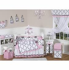 black white and pink crib bedding collection