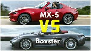 what car mazda 2017 mazda mx 5 rf vs porsche 718 boxster youtube