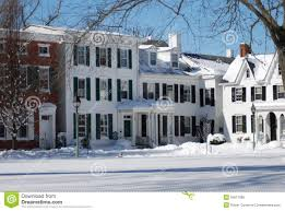 colonial homes in snow stock photo image 55617589