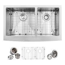 glacier bay farmhouse apron front stainless steel 33 in double