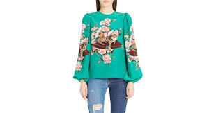 cat blouse lyst dolce gabbana cat print silk bell sleeve blouse in green
