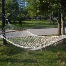 cotton hammock swing sleeping bed tree patio solid wood spreader