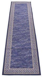 2 X 7 Runner Rug Navy Blue Meander Greek Key Non Skid Slip Runner Rug 2x7 2 By 7 2