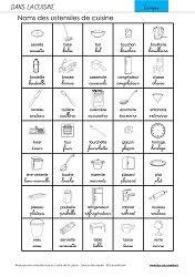 vocabulaire en cuisine exercices vocabulaire orthographe grammaire gs cp ce1 les