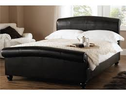 Black Leather Sleigh Bed Double Sleigh Bed For Attractive Bed Street Scroll Double Leather