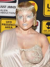 hayley hasselhoff goes braless for alien goddess costume
