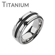 comfort fit ring twist my arm twisted black center wire solid titanium comfort