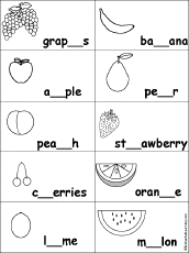 fruits and vegetables spelling worksheets enchantedlearning com