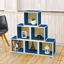 Bookcase Clips Storage Cubes In Blue And Stackable Cubby Bookcase Way Basics