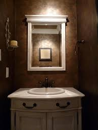 brown porcelain bathroom wall tile mirror with wooden frame white