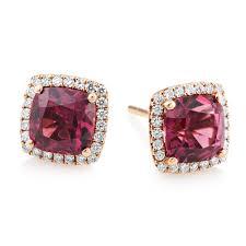 diamond stud earrings uk gold rhodolite garnet diamond stud earrings