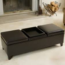 leather storage ottoman with tray foter