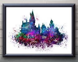 harry potter hogwarts castle watercolor art poster print