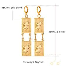 gold earrings in shape 18k gold plated platinum plated square shape elephant earrings