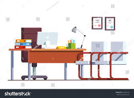 modern minimalist boss office room interior stock vector 649295182