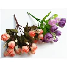 colorful silk flowers artificial flower 15 heads mini rose home