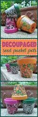 seed packet decoupage clay pots crafts by amanda