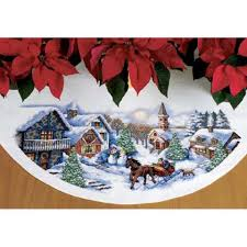 dimensions sleigh ride tree skirt counted cross stitch kit 54 99