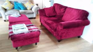 laura ashley red velvet sofa bed with two matching storage foot