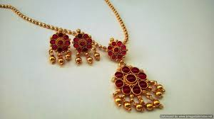 red stones gold necklace images Buy red kemp stone necklace set antique style short online jpg