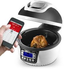 wifi cooker gourmia wifi air fryer rotating rotisserie grill electric oven 20