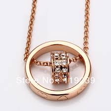 aliexpress crystal necklace images Ln028 rose gold color austrial crystal pave heart link pendant jpg