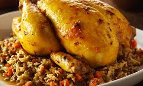 cuisiner poulet entier poulet rôti avec riz pilaf brun et lentilles le poulet du québec