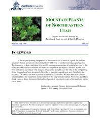 plants native to utah mountain plants of northeastern utah by utah state university