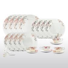 bone china 24 piece dinnerware set diamonds and gold border