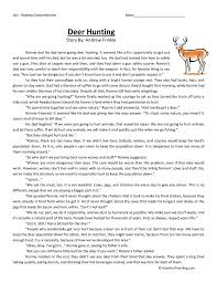 deer hunting reading comprehension worksheet
